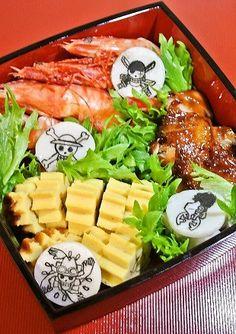 One Piece Bento Boxes Anime Bento, Bento Box, Otaku, Boxes, Chicken, Food, Crates, Essen, Box