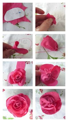 DIY Fabric Rose Tutorial from Pocket of Posies (using thrift store dress shirts - great upcycle):