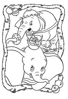 Christmas Dumbo Coloring Page