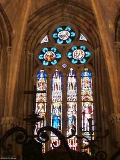 Vidriera. Catedral de Palancia. Stained glass window Cathedral of Palencia, Spain