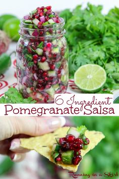 Pomegranate Salsa Recipe- only 6 ingredients! The perfect homemade winter salsa dip using fresh pomegranate and cucumber. Includes how to make instructions! Red and green festive colors for the holidays like Thanksgiving or Christmas. / Running in a Skirt #holiday #thanksgivingrecipe #christmasrecipe #healthyliving