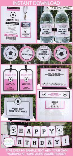 Girls Soccer Party Invitations & Decorations full by SIMONEmadeit Birthday Thank You, 10th Birthday, Girl Birthday, Birthday Ideas, Soccer Birthday Parties, Soccer Party, Sports Party, Football Birthday, Sports Birthday
