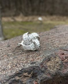 1 CT Diamond Knot Ring Sterling Silver by AntiqueJewelryForFun