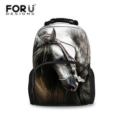 FORUDESIGNS Gray 3D Horse Tiger Animal School Bags Shoulder Book Schoolbag  For Teenager Boys Backpacks Mochila Infantil Escolar 8935b88292d62