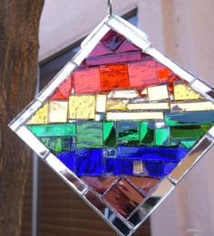 "Mirror Mosaic Sun Catching Art Pride LGBT Rainbow by hungryholler, $49.00 with 6"" squiggly handmade stainless steel hook; $39 without the hook, but hangable with included stainless steel split ring."
