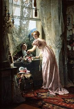'A Romantic Marriage Proposal' (1815) by German artist Johann Hamza (1850-1927). Hamza was amongst the best of German genre painters. At a very early age he was already a consummate craftsman who conceived his pictures in a highly detailed palette.