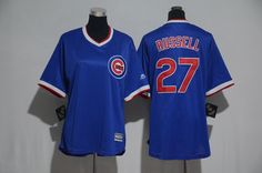 Cubs 27 Addison Russell Blue Cooperstown Women Cool Base Jersey