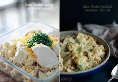 Green Chicken and Cauliflower Enchilada Casserole Green Chicken Enchilada Casserole, Green Chicken Enchiladas, Diabetic Recipes, Low Carb Recipes, Healthy Recipes, Healthy Dishes, Skinny Recipes, Eating Healthy, Healthy Foods