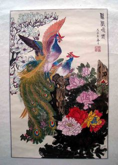 Inspiration: love the plumage in this chinese phoenix painting