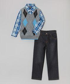 Love this Blue & Gray Argyle Sweater Vest Set - Infant, Toddler & Boys on #zulily! #zulilyfinds