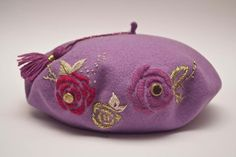 Hand Work Embroidery, Wool Embroidery, French Beret Hat, Berets, Felt Hat, Beanies, Turban, Hats For Women, What To Wear