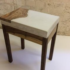 Side table made from reclaimed rosewood with white polished concrete and live edge wood top. #side table #coffee table #upcycledfurniture #upcycling #coffeetable