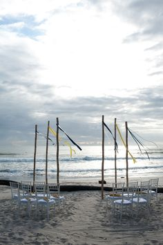 #DestinationWeddingCostaRica  designed and planned by #TropicalOccasions simple ribbons in weddings palatte on bamboo poles