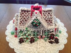 Nordic Ware bundt cake gingerbread house. Much easier than baking and assembling walls!