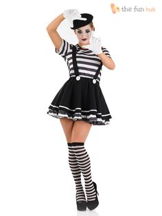 Mens damas MIME artista Disfraz Negro Blanco Circo Carnaval francés traje de calle