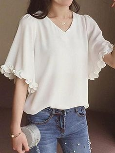 Women's V neck flare sleeve plain blouse 12865603 - blouse Stylish Tops, Trendy Tops, Mode Outfits, Stylish Outfits, Blouse Styles, Blouse Designs, Sleeves Designs For Dresses, Blouse Models, Indian Designer Outfits