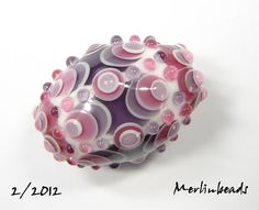oval masked dots granberry pink blue violet on white - SOLD
