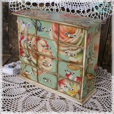 Color Tiffany blue  Mini decoupage wooden chest by alenahandmade, $68.00