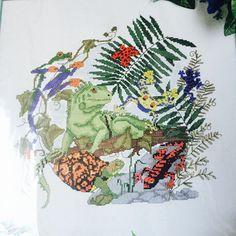 Nature's Window Rainforest Iguana Cross Stitch Frogs Lizard Jungle #NaturesWindow #Frame hobby boys room nature green reptiles amphibians