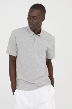 Polo Shirt Slim fit - Gray melange white striped - Men   H M US 1 3288880a37b8