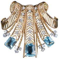 Boucheron Topaz, Diamond, Platinum and 18 Carat Gold Pendant-Brooch Gold Pendant, Diamond Pendant, Diamond Necklaces, Gold Necklaces, Pendant Necklace, Modern Jewelry, Vintage Jewelry, Boucheron Jewelry, Aquamarine Jewelry