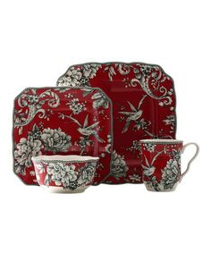 Red Adelaide 16 Piece Dinnerware Set #zulilyfinds