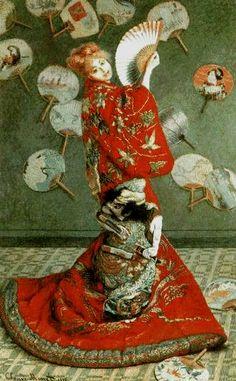 < 모네 '일본 전통 의상을 입은 모네의 부인' (1875), 유화, 231.6 x 142.3cm > 이 작품을 통해 모네가 일본 히로시게와 후쿠사이 등의 목판화의 영향을 받았음을 알 수 있다. 당시 유럽의 인상파 화가들은 일본풍의 그림에 많은 영향을 받았다. 기모노와 일본 부채 등의 장식적 소도구를 활용한 것으로 보아 단순한 일본풍의 모방이라고 하기보다 당시 유럽을 휩쓸고 있었던 일본풍의 열기를 잘 드러내는 작품이다.