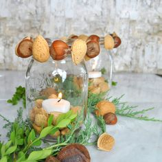 Love this for the Thanksgiving table centerpiece. DIY votive with Nuts, perfect fall decor! Votive Candle Holders, Votive Candles, Table Centerpieces, Table Decorations, So Creative, Thanksgiving Table, Easy Diy, Simple Diy, Fall Crafts