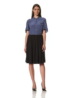 85% OFF JIL SANDER Women\'s Silk Crêpe de Chine Skirt (Navy blue)