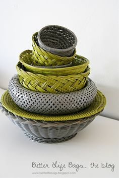 Spray painting cheap wicker baskets to match any decor  I'm having a why-didn't-I-think-of-that moment. - Click image to find more home decor Pinterest pins