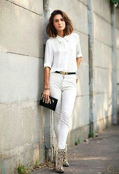 White jeans with heels
