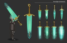 Some variations I did on Dark Souls Moonlight Greatsword. Fantasy Sword, Fantasy Weapons, Dark Souls Art, Dark Art, Inka, Sword Design, Anime Weapons, Prop Design, Weapon Concept Art