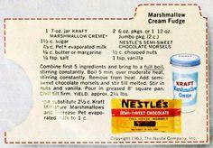 Kraft Fudge Recipe, Marshmellow Cream Recipes, Creamy Fudge Recipe, Fudge With Marshmallow Cream, Cream And Fudge, Recipes With Marshmallows, Fudge Recipes
