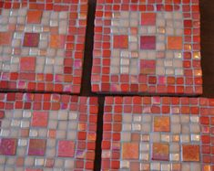 Mosaic Coasters, Set of 4, Handmade, Red, Coral, Peach Glass Tiles