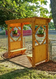 Diy arbor with planter hangers and benches. **need original source ** love this idea! Diy arbor with planter hangers and benches. **need original source ** love this idea! Small Garden Arbour, Diy Arbour, Garden Arbor, Arbour Seat, Building A Pergola, Pergola Plans, Pergola Ideas, Diy Pergola, Arbor Ideas