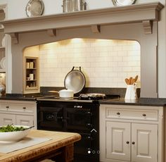Our luxury kitchen design collection showcases the finest craftsmenship, materials and design. View our classic Martin Moore luxury kitchen design collection here. Kitchen Mantle, Aga Kitchen, Kitchen Chimney, Kitchen Tiles, Kitchen Living, Cozy Kitchen, English Country Kitchens, Kitchen Country, French Country