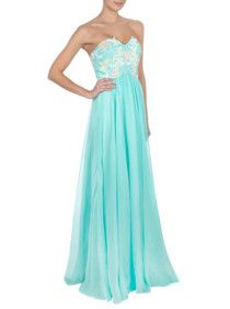 Luxuar Abendkleid mit floralen Applikationen am Bustier Mint - 1