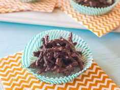 Giada prepares crunchy, no-bake cookies by coating store-bought chow mein noodles in rich, melted chocolate.