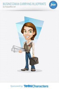Free Vector Businessman Carrying Blueprints | vectorcharacters.net