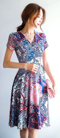 StyleOnme_Paisley Print Wrap Flared Dress #feminine #wrap #dress #koreanfashion…