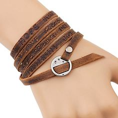 Amazon.com: MORE FUN Multilayer Design Dark Brown Leather Cuff Bangle Thin Leather Rope Wristband Bracelet (gold): Jewelry