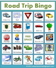 Keep the little ones entertained with these printable travel bingo cards. They simply look for things around them, like road signs, trees, gas pumps, etc.