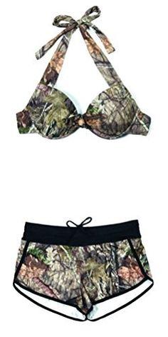 81f151d0f1eec #womensfashion Womens Camo Mossy Oak Breakup Country Bikini Halter Top or  Camo Swim Shorts: