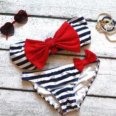 RESTOCK Sailor's Girl Navy Striped Red Bow Bandeau Bikini- FUCKING WANT ITTTTT