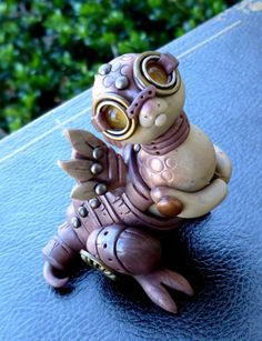 Polymer Clay Handmade Steampunk Dragon Pal Sculpture by MysticReflections on Etsy