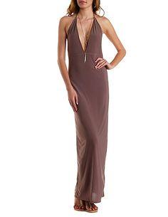 Plunging Halter Maxi Dress: Charlotte Russe #maxidress #maxi #halter #dress