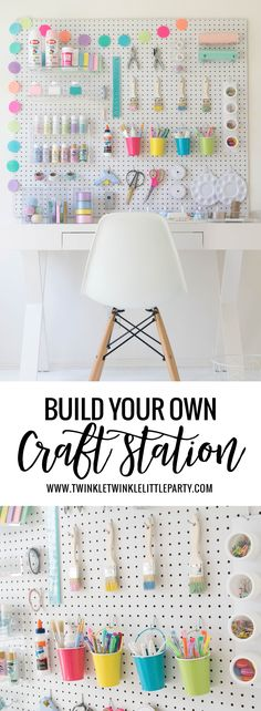 How to build your own diy craft station craft room organizat Diy Kitchen Storage, Craft Room Storage, Craft Organization, Diy Storage, Organizing Tips, Paper Storage, Office Storage, Bathroom Organization, Storage Ideas