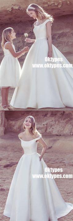 Off Shoulder Satin A-Line Elegant Wedding Dresses, V-neck Bridal Gown, TYP0938