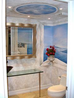 Amazing Greek Murals in residential bathroom.  Murals by Carlos Augusto Periera, Heart Studio.
