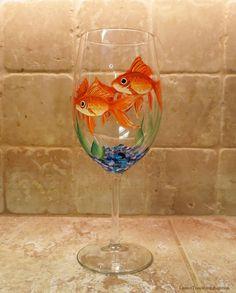 Items similar to Hand Painted Goldfish Wine Glass Gold Fish Aquarium Stemware on Etsy Decorated Wine Glasses, Hand Painted Wine Glasses, Wine Glass Crafts, Wine Bottle Crafts, Wine Bottles, Glass Art, Vase, Decoupage, Pet Fish